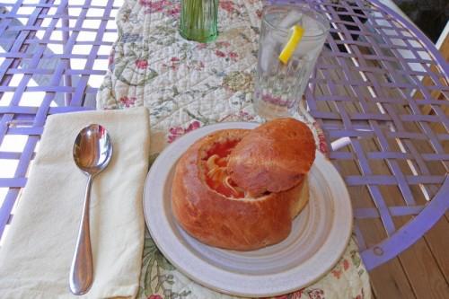 tomato noodle soup bowl