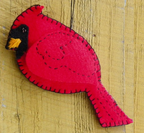 Free Felt Cardinal Bird Christmas Ornament Pattern