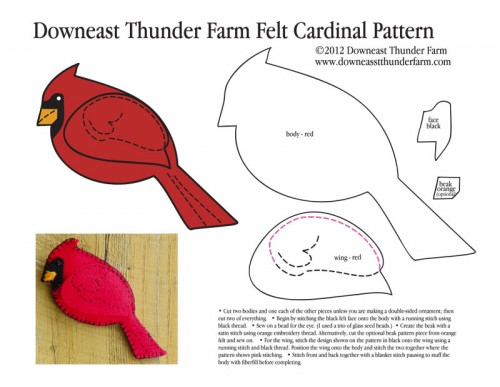 Felt Dog Patterns http://www.downeastthunderfarm.com/2012/01/felt-cardinal-on-a-snowy-afternoon/