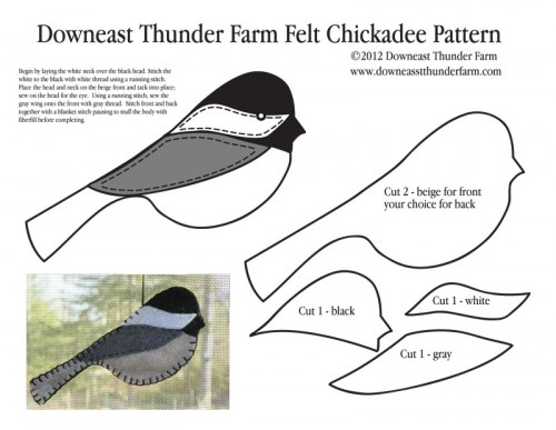 Chickadee felt pattern