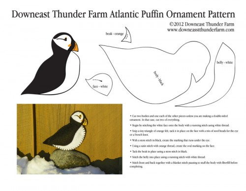 Felt Puffin Ornament Pattern