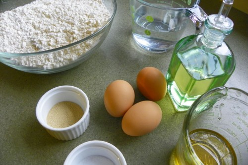 Ingredients - flour, eggs, oil, agave nectar, salt, yeast