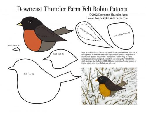Robin Felt Ornament Pattern