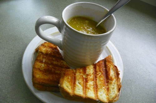 split pea soup and grilled cheese