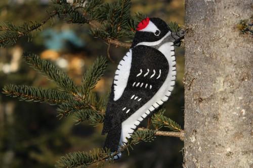 felt woodpecker ornament