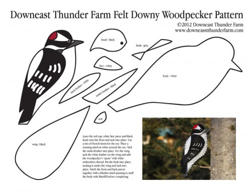 Felt Woodpecker Ornament Pattern
